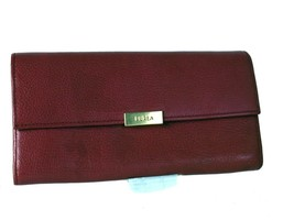 Auth Furla Dark Pink Leather Bifold Long Wallet Purse Hand Bag W/ Coin C... - $98.01