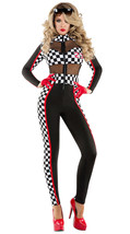 Sexy Starline Racy Racer Black & Checkered Catsuit Race Car Driver Costu... - $59.99