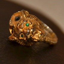 vintage green stone eyes chunky big cat ring gold tiger adjustable size - $49.49