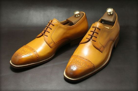 Handmade Men's Brown Two Tone Brogues Slip Ons Dress/Formal Leather Oxford Shoes