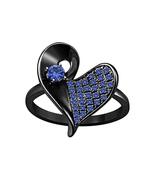 Black Rhodium Plated 925 Sterling Silver Blue Sapphire Heart Shape Wedding Ring - £52.53 GBP