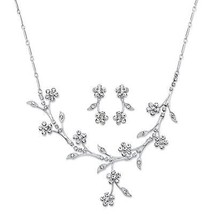 "Crystal Silvertone Floral Vine Drop Earrings and Necklace Set 16.5""-19.5"" - $26.25"