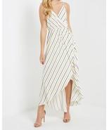 White Striped Dress, Striped Wrap Dress, High Low Tulip Hem, Striped Max... - €52,06 EUR