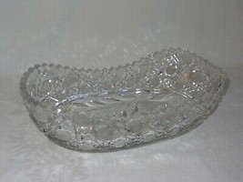 Vintage Oval Oblong Etched Crystal Bowl Centerpiece Daisies Flowers Sawt... - $29.69