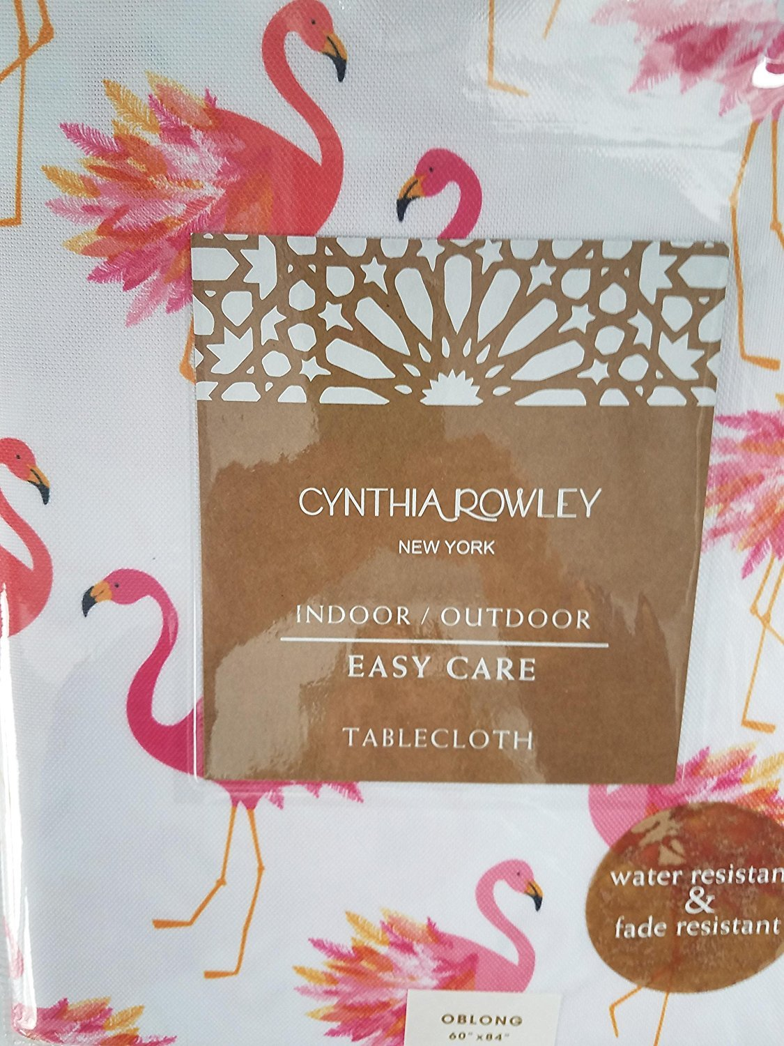Cynthia Rowley Pink Flamingos Indoor/Outdoor Tablecloth 60 x 84 Oblong