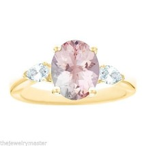 MORGANITE & PEAR SHAPE DIAMOND ENGAGEMENT RING YELLOW GOLD OVAL 10mmx8mm... - €1.293,46 EUR