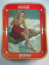 Coca-Cola 1941 Vintage Tin Tray Ice Skating Girl Original Authentic  - $54.45