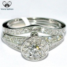 Bridal Engagement Ring Set In Round Cut White CZ 14k Gold Plated Sterling Silver - $89.99