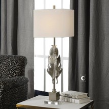 "LUMA MODERN XXL 36"" CAST ALUMINUM LEAF TABLE LAMP CRYSTAL BASE UTTERMOST - $237.60"