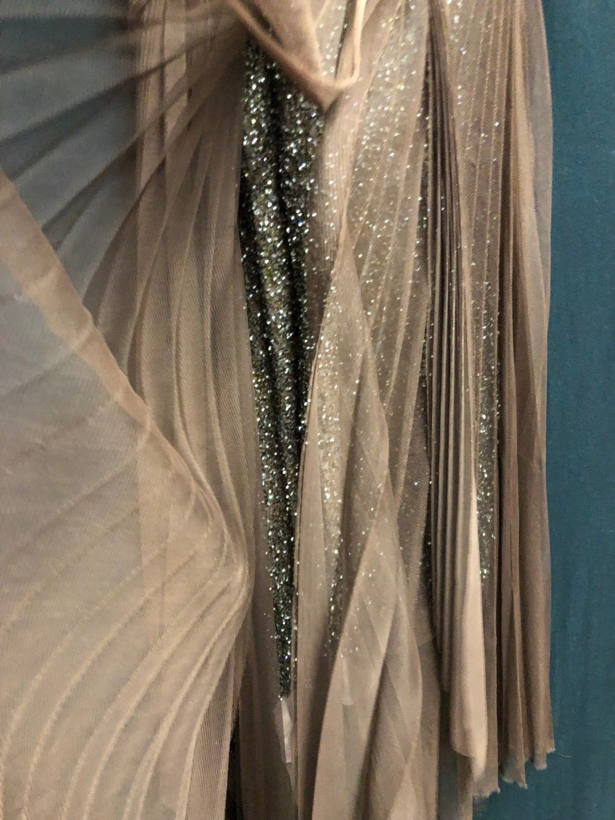 NEW BCBG Max Azaria ATELIER Dress GOWN BROWN Embellished Chiffon *0-2 (A#57)