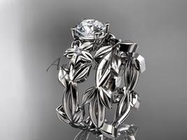 Leaf and Flower Wedding Sets Platinum modern engagement set ADLR424S - $1,950.00