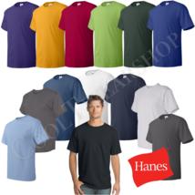 Hanes Comfortsoft Men Crewneck Short Sleeves Plain Cotton T-Shirt O5280 ... - $15.85+