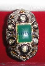Vintage Look 1.06Ct Rose Cut Diamond Sterling Silver Emerald Ring CJUK549 - $9.253,06 MXN
