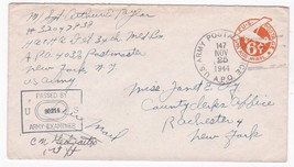 WORLD WAR II EXAMINED MAIL US ARMY POSTAL SERVICE A.P.O. NOV 25 1944 APO... - $2.98