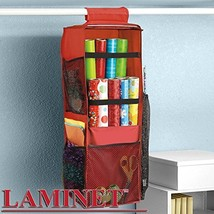"LAMINET Hanging Gift Wrap Organizer - RED with Black Trim - 10"" x 10"" x 31"""
