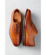 Handmade Mens Tan brown Leather formal Shoes, Men Oxford leather dress s... - $164.99