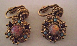 CLIP EARRINGS gold color circles with various beads on it dangling CLIP ... - $2.96