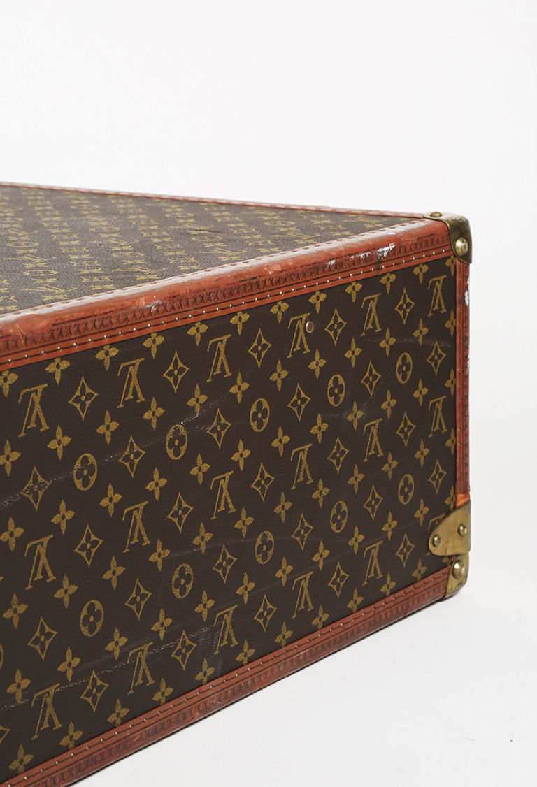 VINTAGE Louis Vuitton Brown Coated Canvas Leather Bisten 80 Hard Sided Suitcase