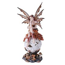 Autumn Fairie Sitting on Changing Color Led Orb Meadow Mushroom Fairy Statue - $47.99