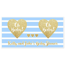 Oh Baby! Blue and Gold Sparkle Baby Shower Banner - $22.28+