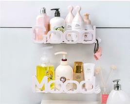 Corner Storage Wall Mounted Plastic Suction Bathroom Shelf Storage Basket Holder image 9