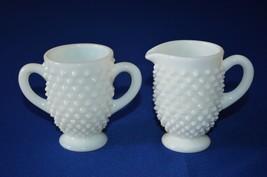 Fenton Hobnail Milk Glass Mini/Individual  Creamer & Sugar - $9.90