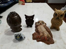 Vintage Owls 5  Wall hanging  Shelf Sitter  Birds home décor  Japan  Han... - $5.00
