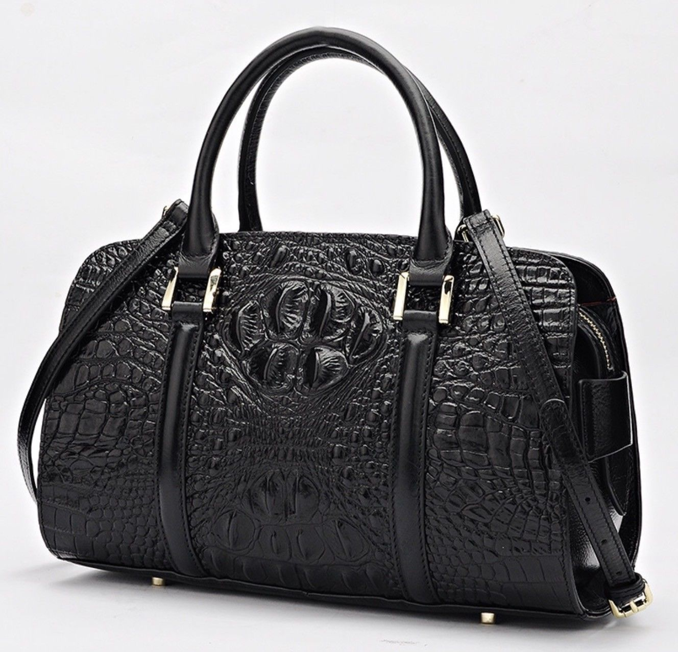 Crocodile Embossed Italian Leather Satchel Handbag Purse Croc Bag Shoulder Bag