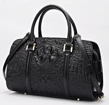 Crocodile Embossed Italian Leather Satchel Handbag Purse Croc Bag Should... - $179.95