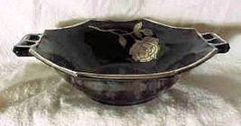 Westmoreland Black Glass - 2 Handle Bowl - Silver Octavia Rose - $22.99
