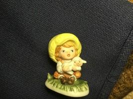 Lefton Girl with Bonnet and Lamb Ceramic Bisque Figurine Vintage 00869 - $12.00