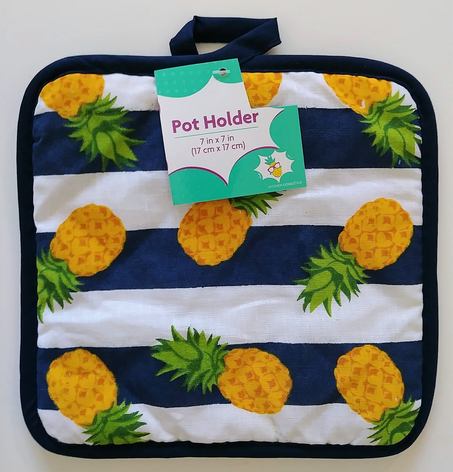 PINEAPPLE DESIGN KITCHEN SET 3pc Towel Oven Mitt Potholder Blue White Stripes