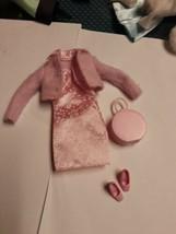 90's Barbie Fashion Avenue Pink Suit Shoes Purse Complete Barbie Dress O... - $12.86