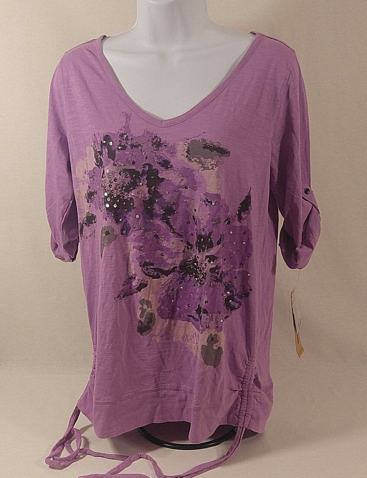 Primary image for DKNY Jeans Womens Casual Top Pink V-Neck Floral Sequin Ruched 3/4 Sleve NWT Sz-M