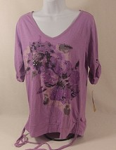 DKNY Jeans Womens Casual Top Pink V-Neck Floral Sequin Ruched 3/4 Sleve ... - $16.79