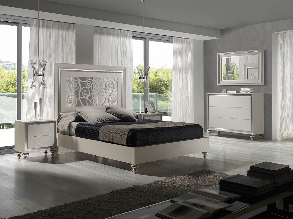 Modern White Finish Ornate Carved Headboard King Bedroom
