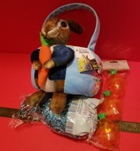 Peter Rabbit Easter Basket Kit Plush Bunny Tote Sparkle Grass Carrot Containers - $18.99