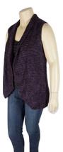 CHICO'S Wool Blend Purple/Black Boucle Sleeveless Sweater Knit Vest 2 (L) - $7.20
