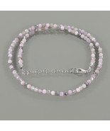 Zircon & Kunzite Faceted Round Gemstone Necklace with 925 Sterling Silve... - $37.99
