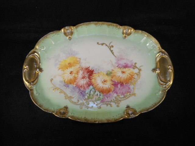 Vintage Limoges B & H France Hand Painted Gold Decorated Vanity Tray