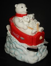 Coca-Cola Coke Polar Bear Downhill Sled 2005 Cookie Jar with Lid Gibson Red - $54.44