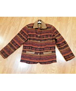 Woolrich Wool Blanket Southwest Aztec Indian Jacket Leather Accents Wome... - $59.39