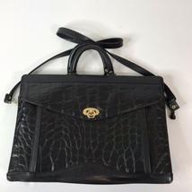 Vintage Handbag JACKSON Briefcase Business Satchel Bag Croc Print Black - $26.68