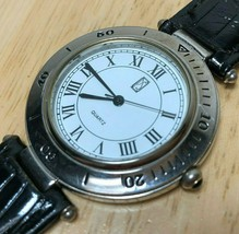 Vintage Paul Sebastian Men Silver White Roman Analog Quartz Watch Hours~... - $14.24
