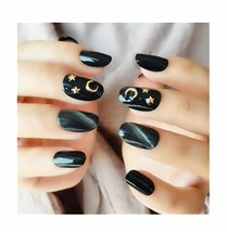 HPMJ Black DIY False Nails 24pcs 12 Different Sizes Stick on nails for Women and