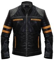 Cafe Racer Retro Black Vintage Distressed Biker Quilted Leather Jacket image 2