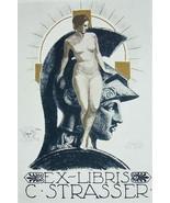 NUDE EX LIBRIS Woman Leans on Greek Soldier Helmet Head - 1922 Lichtdruc... - $17.96