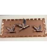 VTG Mid Century Copper Metal Art wall plaque plate display Flying Geese ... - $23.76