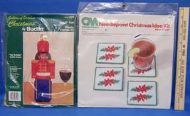 Christmas Needlepoint CM Coaster Kit & Bucilla Toy Soldier Bottle Cover Kit - $11.87
