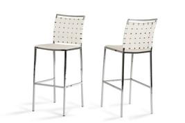 Shasta - Modern White Eco-Leather Bar Stool (Set of 2) - $422.40
